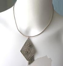 Vintage Middle Eastern Yemen Beduoin Sterling Filigree Flower Necklace - $72.00