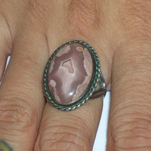 Vintage Native American Sterling Lace Agate Ring  Sz 6.75 - £75.76 GBP