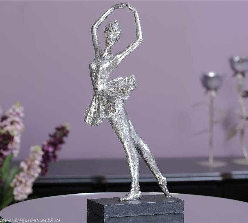 "18.9"" Ballerina Graceful Figurine on Base  Antiqued Silver Painted Polystone NEW"