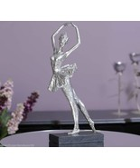 "18.9"" Ballerina Graceful Figurine on Base  Antiqued Silver Painted Polys... - $74.24"