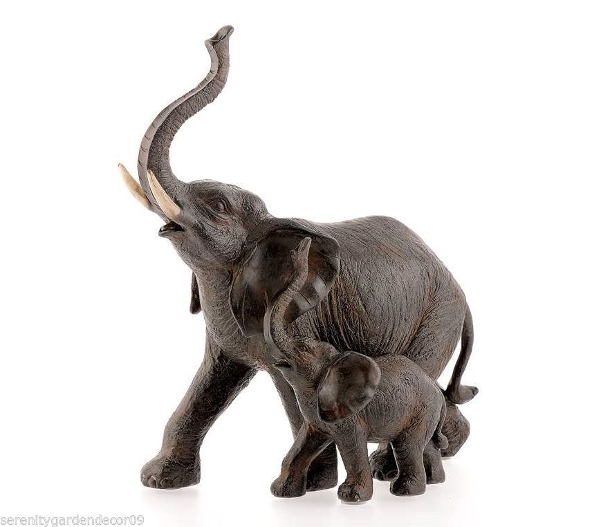 "9"" Majestic Mother & Baby Elephant w Extended Trunks Brown Polystone Statue NEW"