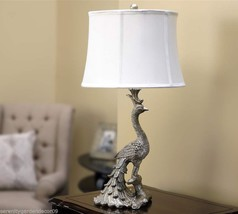 "Elegant 28"" Peacock Design Antiqued Silver Finish Table Lamp with White Shade"