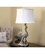 """Elegant 28"""" Peacock Design Antiqued Silver Finish Table Lamp with White ... - $188.09"""