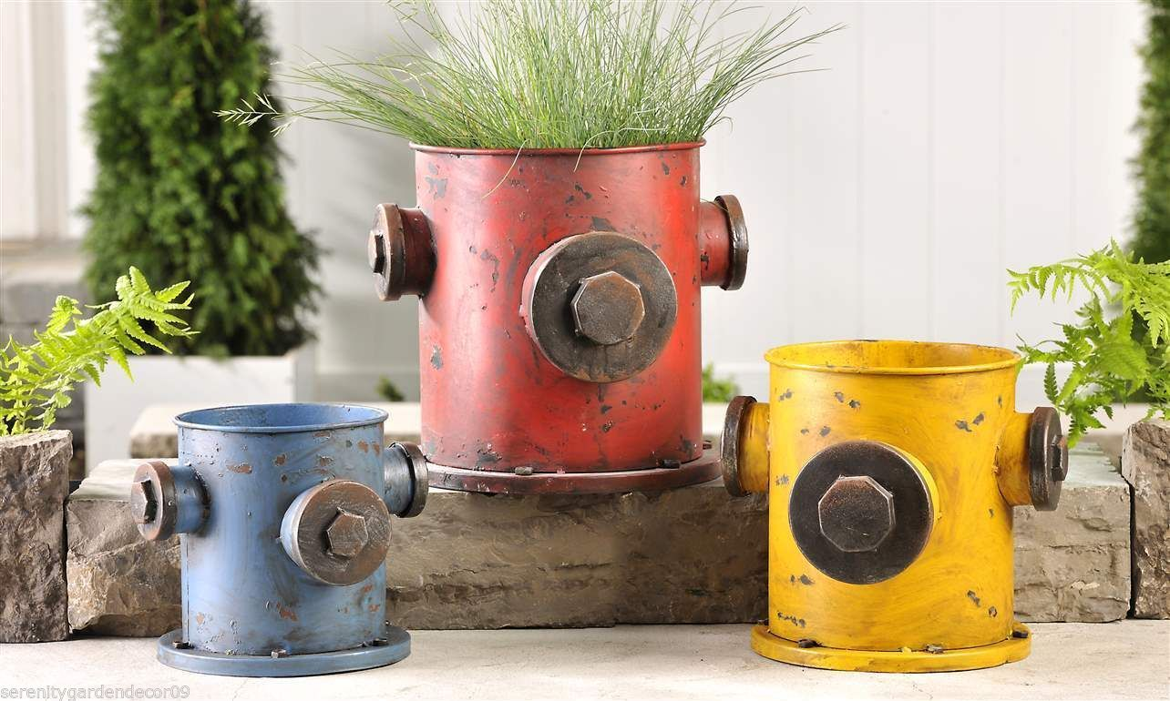 Set of 3 Rustic Iron Fire Hydrant Design Flower Pots Blue Red Yellow Antiqued