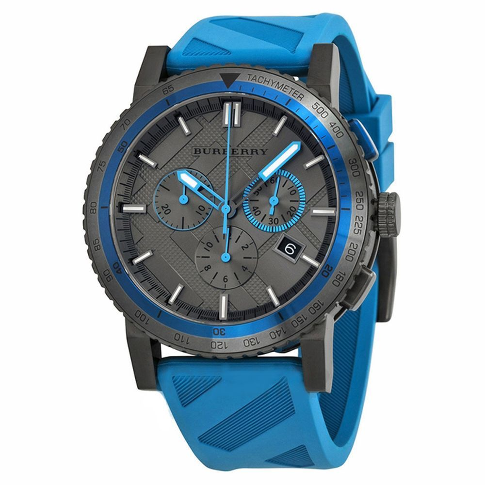 BU9812 Burberry The City Sport Men Watch Blue Rubber Gunmetal 42mm Chronograph image 1