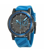 BU9812 Burberry The City Sport Men Watch Blue Rubber Gunmetal 42mm Chronograph - $416.50