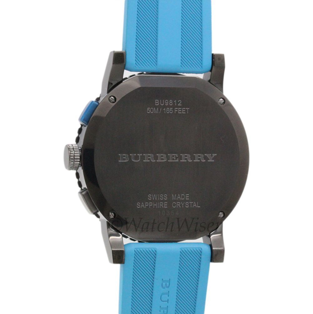 BU9812 Burberry The City Sport Men Watch Blue Rubber Gunmetal 42mm Chronograph image 3