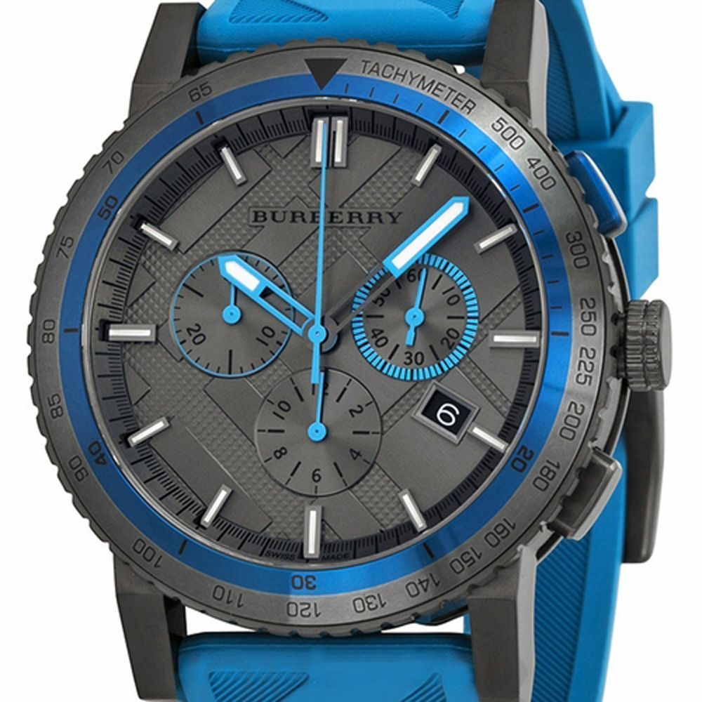 BU9812 Burberry The City Sport Men Watch Blue Rubber Gunmetal 42mm Chronograph image 6