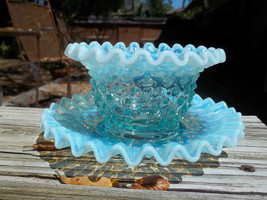 Vintage Fenton Blue White Opalescent Hobnail Ar... - $75.00