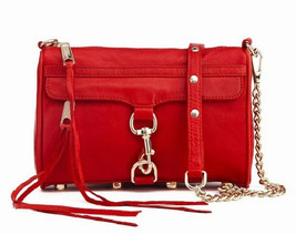 NWT Rebecca Minkoff MINI MAC Clutch Leather Crossbody Bag RED GOLD $200 ... - $135.00