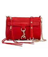 NWT Rebecca Minkoff MINI MAC Clutch Leather Crossbody Bag RED GOLD $200 AUTHENTC - $135.00