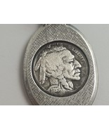 VINTAGE STERLING SILVER GENUINE 1935 BUFFALO INDIAN HEAD NICKEL PENDANT - $29.69