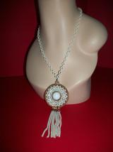 Fashion Treasure Women Jewelry Gold Metal White Pendant Necklace Tassel Chain - $18.99