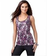 NWT Style & co. Sleeveless Black & Purple Sequin Long Tank Top Petite Large - $27.88