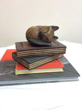 Sleeping Cat Over Books Decorative Paper Weight. Solid Wood carved. - $16.50