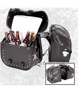 Studded Motorcycle Black Saddlebag 4pc Removable Cooler Set Skull Beer B... - $104.94