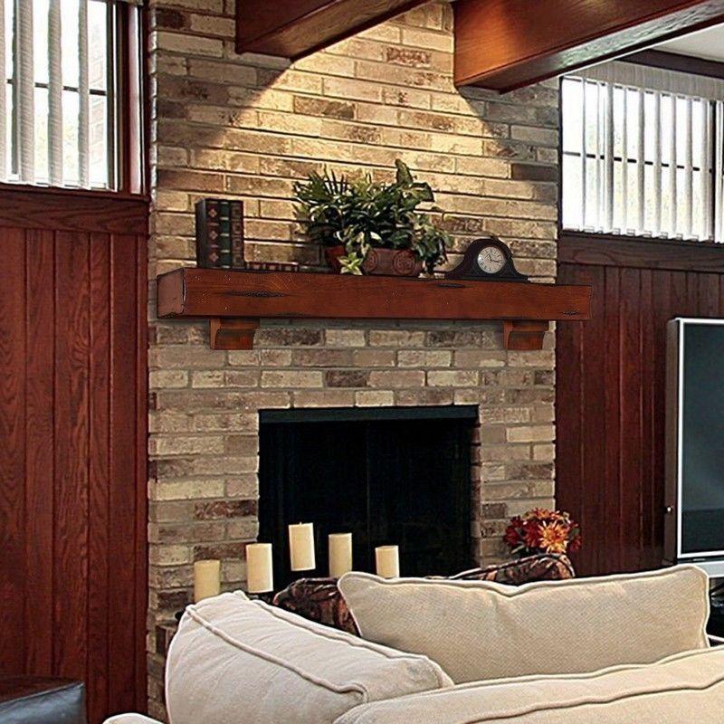 "Rustic Fireplaces: Mantle Wood Beam 72"" Cherry Rustic Fireplace Mantel Shelf"