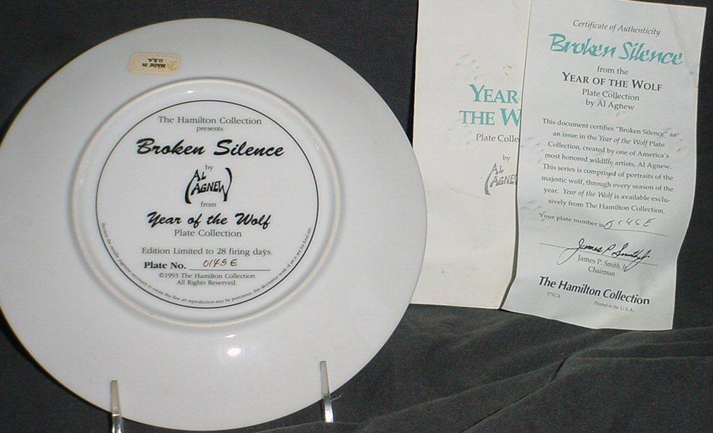 "Hamilton Year of The Wolf ""BROKEN SILENCE"" Porcelain Collector Plate w/COA"