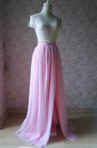 Pink Maxi High Split Tulle Skirt Pink Polka Dot One Side Split Tulle Tutu Skirt  image 5