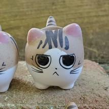 "Ceramic Cat Planters, set of 6, 2.5"" Animal Pots, Emotion Face Kitten Kitty image 3"