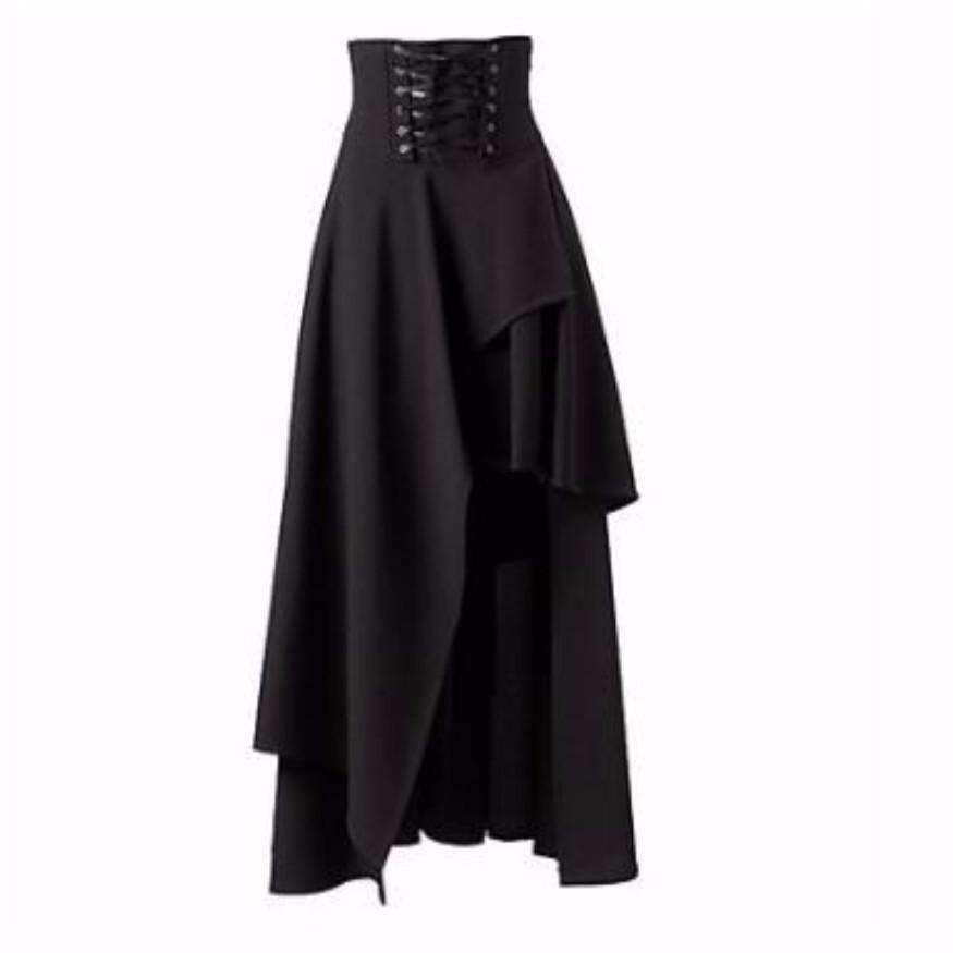 Daisy dress for less skirts gothic high waist asymmetric black women long skirt 1399101227039