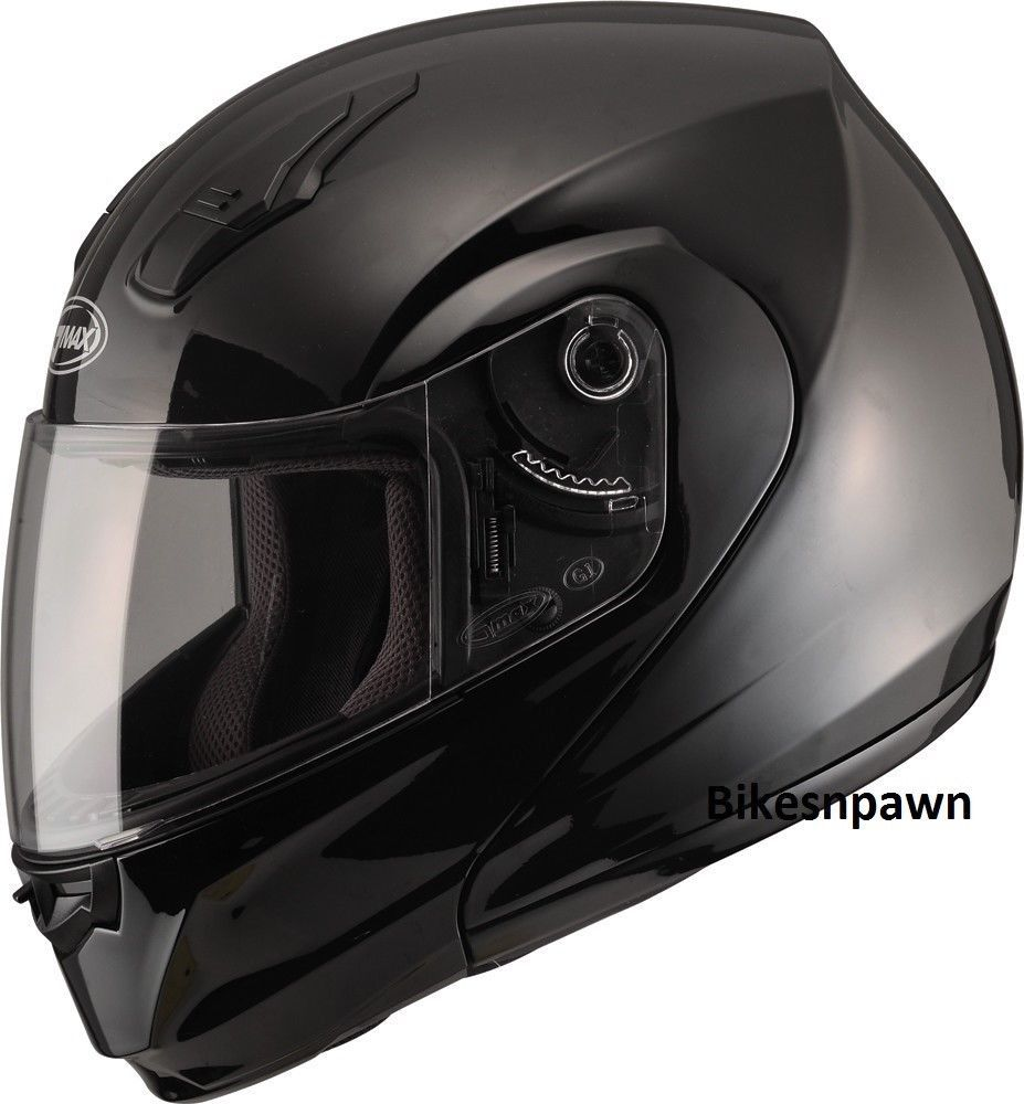 S GMax MD04 Gloss Black Modular Street Motorcycle Helmet DOT