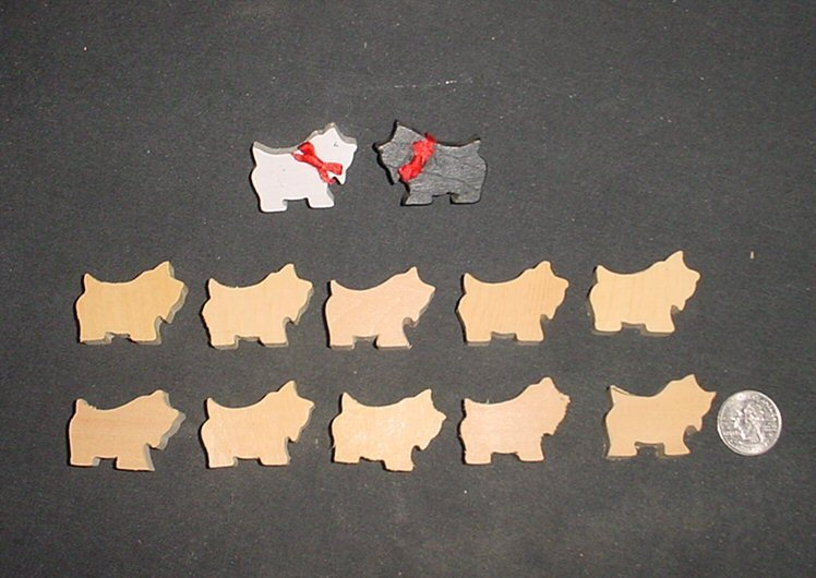 LOT of 10  MINIATURE Unfinished  Wood Scottie/Westie  Dogs NEW