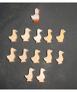 LOT of 12 MINIATURE Unfinished  Wood GEESE NEW - $3.00