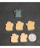 LOT of 5  MINIATURE Unfinished  Wood COFFEE POT  NEW - $2.50