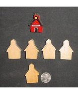 LOT of 5  MINIATURE Unfinished  Wood SCHOOL HOUSE NEW - $2.25