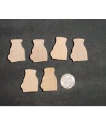 LOT of 6  MINIATURE Unfinished  Wood COOKIE & MILK NEW - $2.75