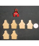 LOT of 6  MINIATURE Unfinished  Wood SCHOOL HOUSE NEW - $2.85