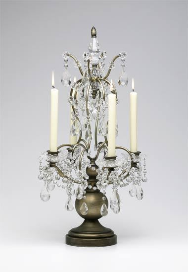 ANTIQUE BRASS / CRYSTAL 4 Taper Candle Candelabra, Chic