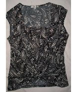 MOA MOA  Low knotted V neck w/Insert STRETCH  Sleeveless  Top w/Gold dot... - $4.99