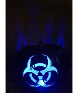 Black Biohazard Sign Zombie Color changing jack-o'-lantern Halloween Pum... - $29.99