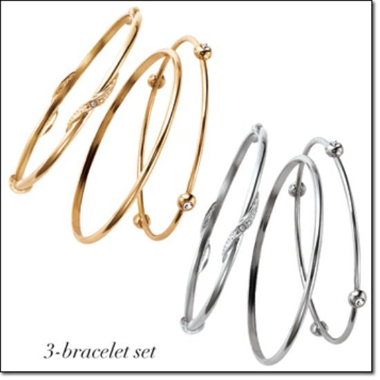Knotted Statement Stackable 3-Piece Bangle Bracelet Set - Gold Tone