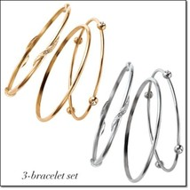 Knotted statement stackable 3 pc bangle bracelet set thumb200