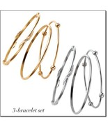 Knotted statement stackable 3 pc bangle bracelet set thumbtall