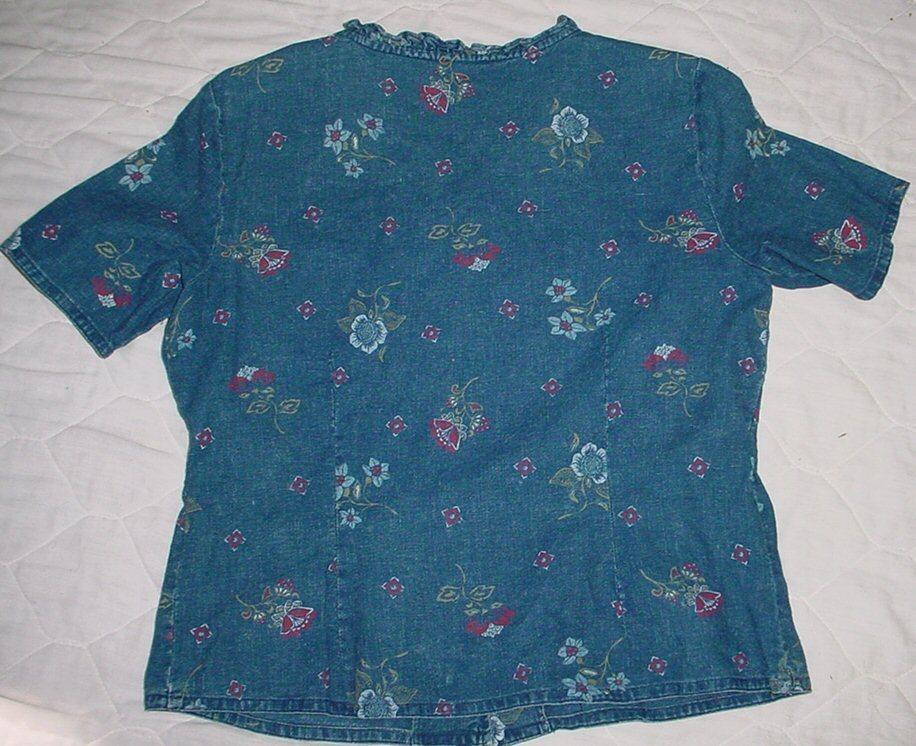 REQUIREMENTS LINEN Blend  Blue Jean Denim Short sleeve Top sz. M