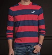 Hollister La Jolla Cove Crew Men's Shirt XL Extra Large NEW Red/Blue Long Sleeve - $25.99