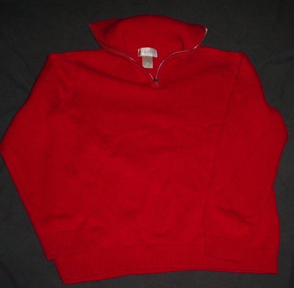 STUDIO WORKS red Cotton part zip Sweater sz. S