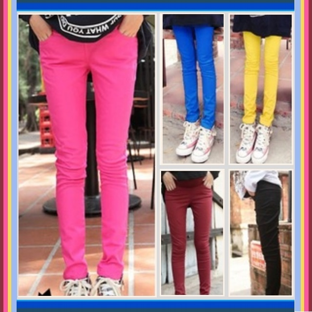 Candy Colors Straight Leg Baby Bump Tummy Expansion Skinny Pencil Jeans