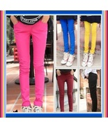 Candy Colors Straight Leg Baby Bump Tummy Expansion Skinny Pencil Jeans - $55.95