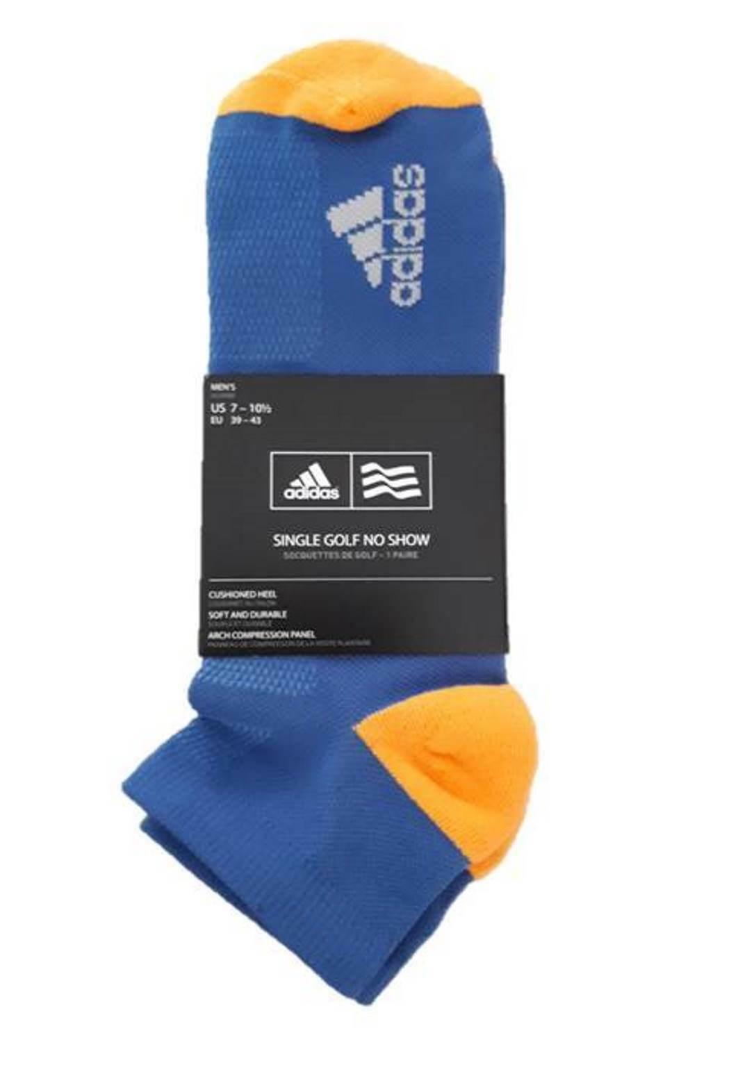 Primary image for ADIDAS GOLF No Show Socks CF8355 Breathable Blue / Orange Sz 7-10.5