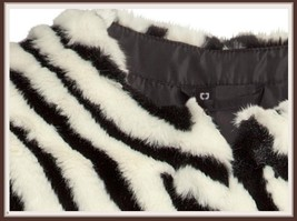 Fabulous Zebra Stripe Fashion Faux Fur Long Sleeve Jacket Shirt Coat  image 2