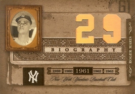 2005 donruss playoff biography baseball card roger maris new york yankees hr 29 - $9.99