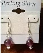Handmade Sterling Silver Genuine Amethyst & Swarovski Crystal Earrings - $12.99
