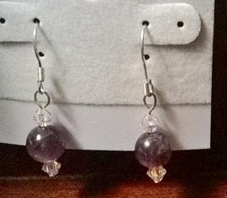 Handmade Sterling Silver Genuine Amethyst & Swarovski Crystal Earrings