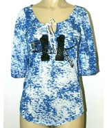 ❤️ FREE PEOPLE USA Blue Burnout Cotton Blend Tee Small Elbow-Sleeve NEW!... - $23.74