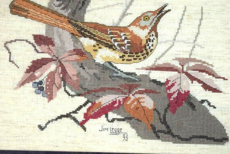 Vintage 1993 Cross Stitch Bird Nature Signed Textile Art Framed Animal Portrait